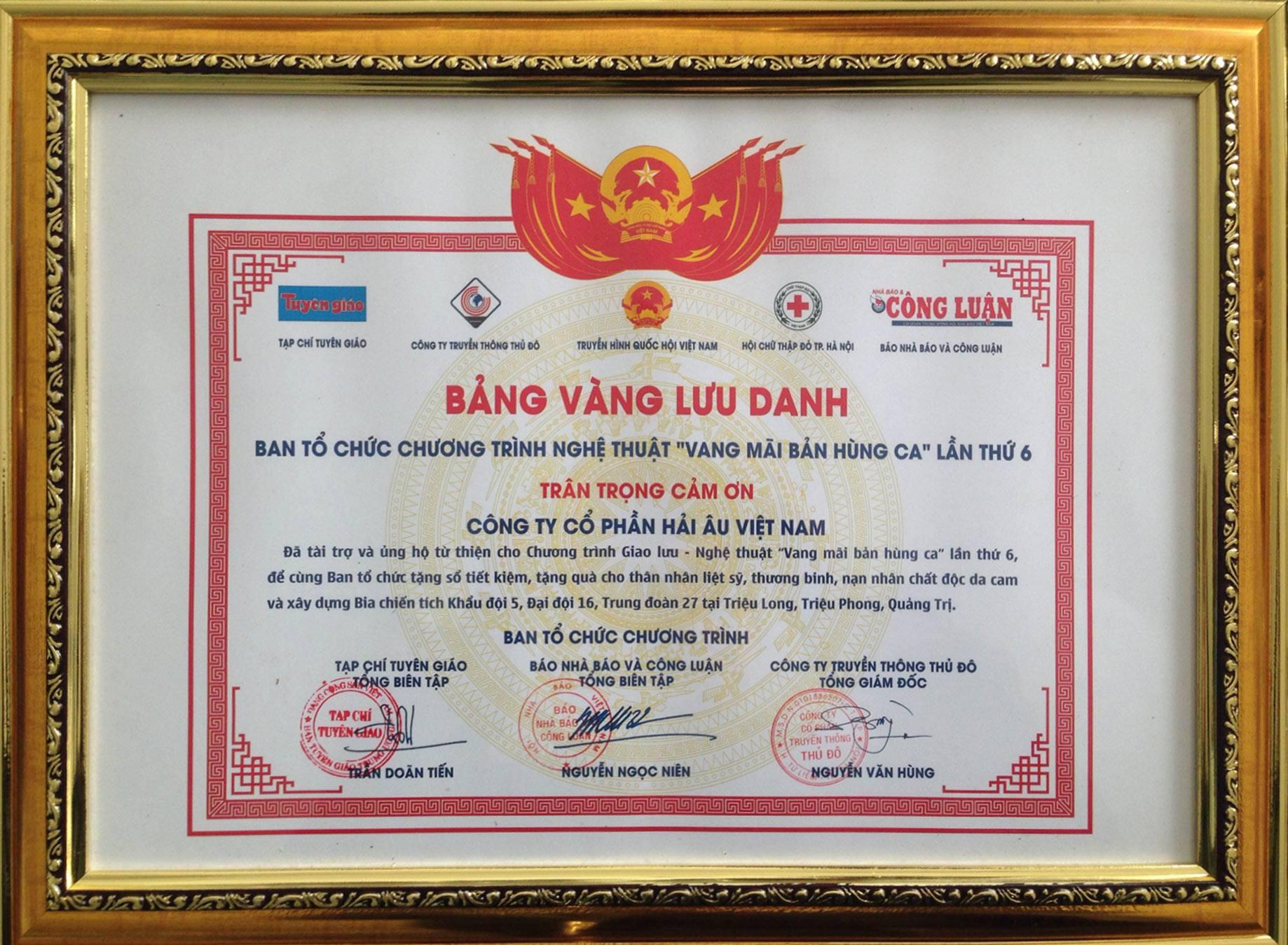 Hải Âu Việt Nam đồng hành cùng chương trình vang mãi hùng ca