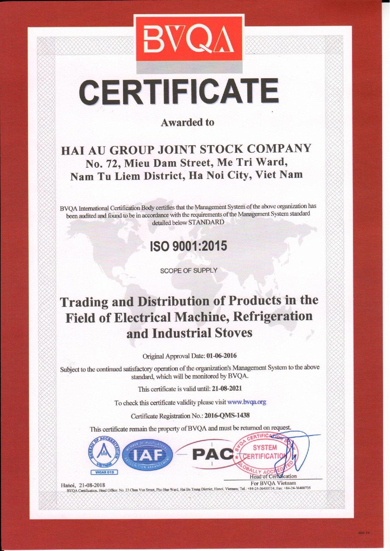 chứng nhân ISO 9001:2015 của Hải Âu Group
